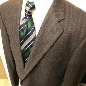 hickey freeman 42r suit 2pc 100% wool striped